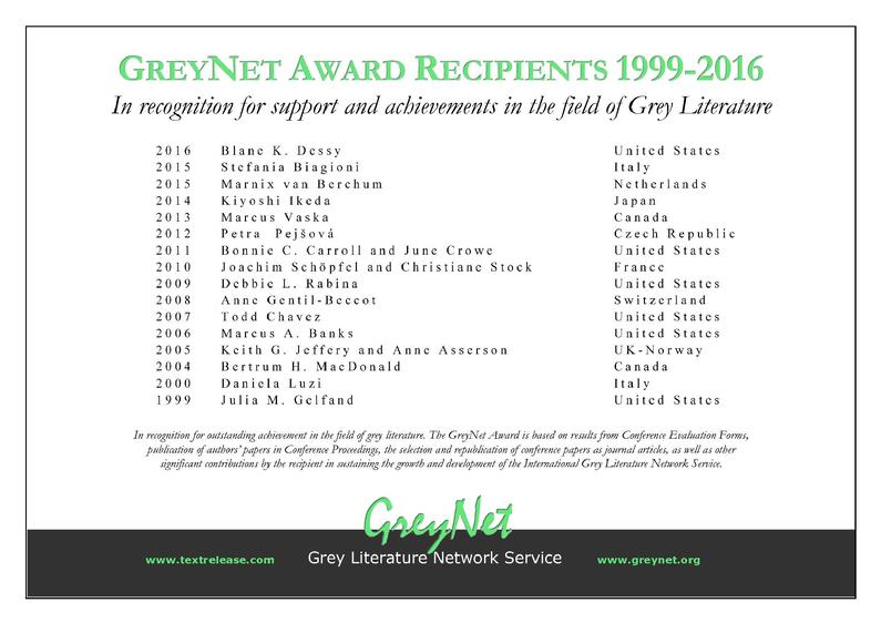 GreyNet Award Recipients